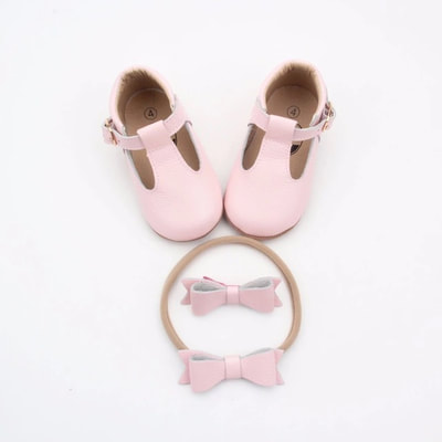 Rose Pink T-Bar Shoes $50
